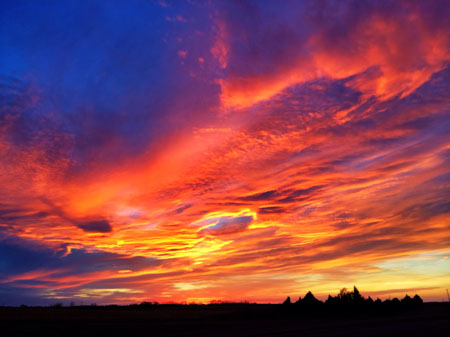photo sunset near Woodward, Oklahoma, by Wesley Fryer