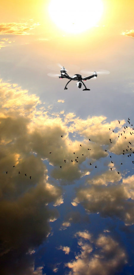 photo of UAV high above clouds and a flock of birds
