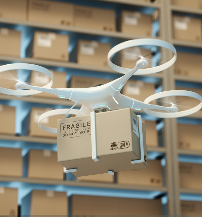 3D rendering of a quadcopter drone carrying a cardboard box in a warehouse